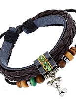 Women's Casual Leather Bracelet Beaded Braided Bracelet Individuality Pendant Bracelet  PS0153