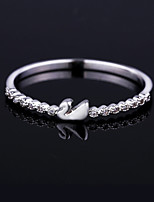 Gorgeous Women's Platinum Plated Alloy with Clear Crystals Swan Wedding Jewelry Cubic Zirconia Ring (with Gift Box)