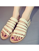 Women's Shoes Suede Flat Heel Round Toe/Open Toe Sandals Casual Black/Beige