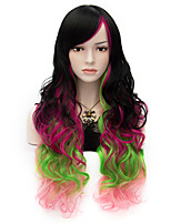 Harajuku Fashion Rainbow Color Sexy Long Curly Full Hair Wig