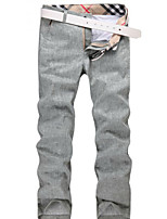 U-Shark New Hot Men's  Casual&Fashion  Nature Flax Pants/Tousers Light Gray Green Color