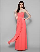 Floor-length Georgette Bridesmaid Dress - Watermelon Sheath/Column Sweetheart