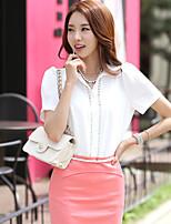 Women's Casual/Work Inelastic Short Sleeve Regular Shirt (Cotton)
