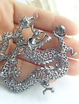 Women Accessories Gray Rhinestone Crystal Dragon Brooch Art Deco Crystal Brooch