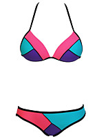 Women's Color Blocks Halter Bikini Swimsuit
