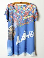 Summer Women's Casual Cartoon Print Short Sleeve O-neck T-shirt (Cotton Blends)