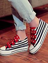 Scarpe Donna - Sneakers alla moda - Casual - Plateau / Creepers / Punta arrotondata - Piatto - Di corda - Nero / Rosso
