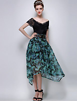 TS Women's Fashion Elegant Floral Print High Waist Simplicity Asym Midi Bubble Skirts(Chiffon)