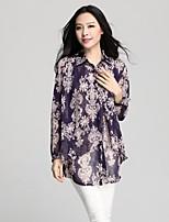 Women's Print Black/Purple Shirt , Shirt Collar Long Sleeve