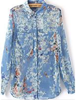 Women's Casual/Work Micro-elastic Long Sleeve Regular Shirt (Chiffon/Polyester)