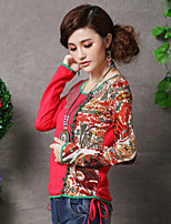 Women's Print/Character Red/Green T-shirt , Round Neck Long Sleeve Embroidery