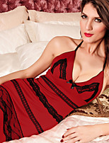 Women Polyester Sexy Slim Lace V Neck Halter Sleepwear Gowns Red
