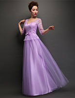 Floor-length Tulle Bridesmaid Dress - Purple Sheath/Column V-neck