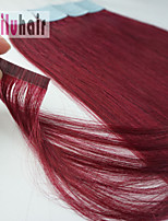 HighLight Color 16inch -24inch 20pcs Skin Weft Tape-in Real Remy Human Hair Extensions  #Burgundy