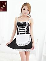 SKLV Women's Organza/Lace Housemaid Uniform Lingerie/Ultra Sexy/Suits Backless Bikini Nightwear/Lingerie