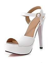 Chaussures Femme - Habillé / Soirée & Evénement - Noir / Rose / Rouge / Blanc - Talon Aiguille - Bout Ouvert - Sandales - Similicuir