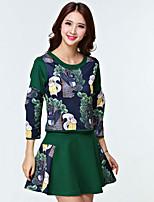 Women's Blue/Green T-shirt Long Sleeve