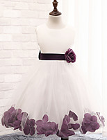 Flower Girl Dress - A-line Longueur mollet Sans manches Coton/Dentelle/Tulle/Polyester