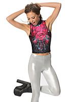 Women's High Collar Sleeveless 3D Print Midriff Vest
