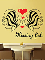 Wall Stickers Wall Decals Style Kissing Fish PVC Wall Stickers