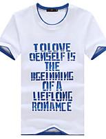 Tee-Shirt Décontracté/Grandes Tailles Pour des hommes Manches Courtes A Motifs Coton/Spandex