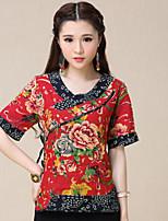 Women's Print Blue/Red T-shirt , Round Neck ½ Length Sleeve