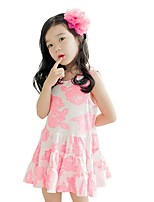 Summer Baby Kids Sleeveless Rose Printing Floral Casual Dresses (Cotton Blends)