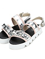 Women's Shoes Suede Flat Heel Round Toe/Open Toe Sandals Casual Silver