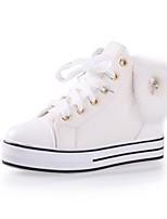 Zapatos de mujer Tela Plataforma Comfort/Punta Redonda Sneakers a la Moda Casual Blanco/Caqui