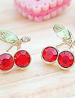 Women's Japanese And Korean Version Cute Red Cherry Crystal Earrings