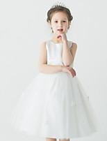 Balo Elbisesi Diz-uzunluğunda Organza Kolsuz Çiçek Kız Elbise