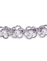 Women's Individuality Flowers Pearl Inlay Crystal Hairpin FJ0057