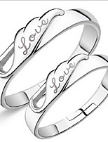 Couples' Angel Wing Silver Ring With
