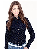 JAMES Fall Women's Thick Dots Corduroy Long Sleeve Shirt/ Blouse with Blue-Yellow-Brown Color Casual Fashion