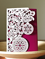 1pcs 3 Colors Laser Cut Bauble Christmas Greeting Card Party Invitaion Card Christmas Tree Decoration