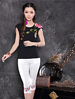 Women's Character White/Black T-shirt , Round Neck Short Sleeve Embroidery/Flower