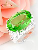Lucky Shine Women's Men's Unisex 925 Silver Trendy Oval Green Quartz Crystal Gemstone Wedding Rings