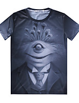 Masculino Camiseta Casual Estampado Misto de Algodão Manga Curta Masculino