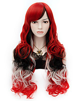 Harajuku Fashion Mix color of Black and Red Sexy Long Curly Full Hair Wig