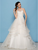Lan Ting A-line/Princess Wedding Dress - Ivory Sweep/Brush Train Scoop Tulle