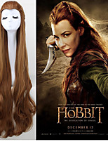 Fashion Party The Hobbit Facial Hair Cosplay Wig Woman Very Long Wave Brown Hair Cosplay Wig 400G