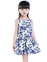 Summer Kids Girls Blue and White Porcelain Back Hollow Camisole Beach Dresses (Cotton Blends)