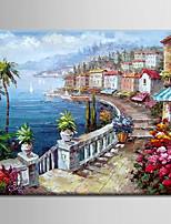 peinture à l'huile décoration scène méditerranéen abstraite main toile tendue avec encadrée peints