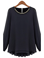 Women's Solid Black Blouse , Round Neck Long Sleeve Beaded