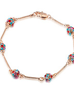 T&C Women's Concise Design Jewelry 18K Rose Gold Plated 6 Pieces Colourful Crystal Ball Link Bracelets For Party