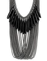 Fashion Black Multilayer drop necklace