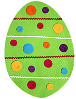 Easter Egg Shape Faux Silk Lace Design Placemat with Multicolor Pintuck Square and Ribbon