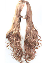 Cos Anime Bright Colored Wigs Long Curly Brown Hair Wig 80 cm