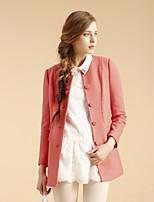 GOELIA Women's Vintage/Work Medium Long Sleeve Long Coat (Wool/Polyester)