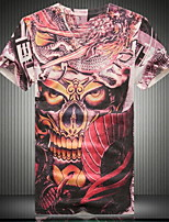 Men's Punk Fashion V-neck 3D Digital Printing Short Sleeved T-shirt